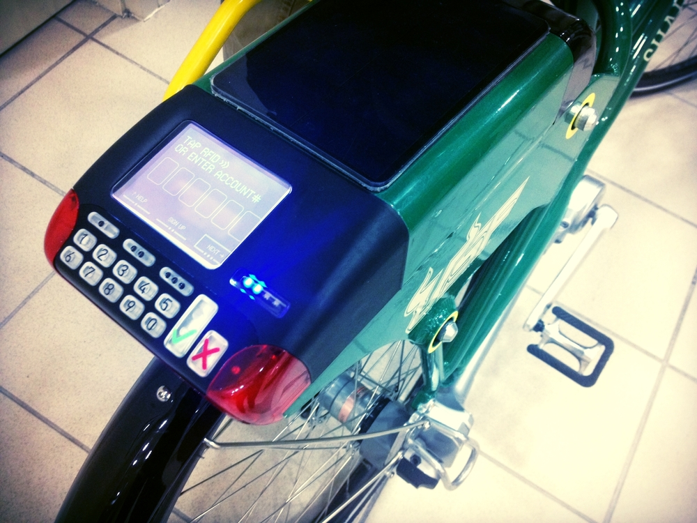 The user interface on a Social Bicycle. (Joanna Detz/ecoRI News)
