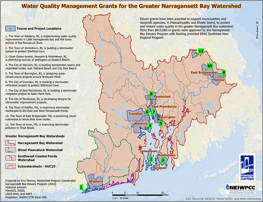 The grants funded 11 projects in the greater Narragansett Bay watershed. (NBEP)