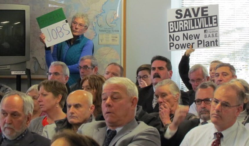 A room in the Public Utilities Commission office building in Warwick, R.I., was packed for the Jan. 12 hearing regarding the power plant proposed for Burrillville. (Tim Faulkner/ecoRI News)
