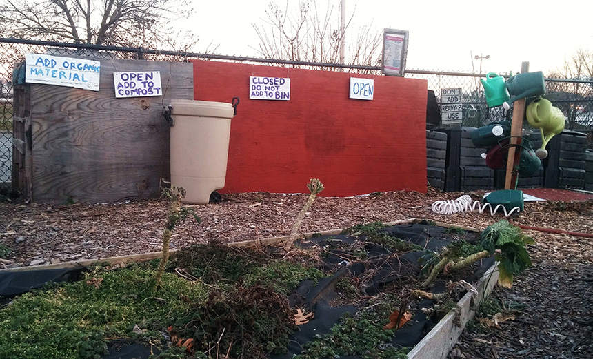 Rogue composting operations like this one at a Providence community garden could come out of the shadows if proposed changes to Rhode Island's composting regulations are implemented. (Kevin Proft/ecoRI News)