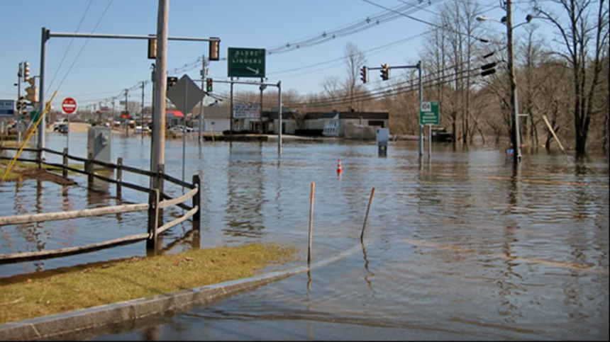 Floodwaters from the Taunton River flooded the junction of Route 44 and Route 104 in Taunton, Mass., during the March floods of 2010. (NOAA)