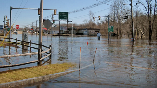 Floodwaters from the Taunton River flooded the junction of Route 44 and Route 104 in Taunton, Mass., during the March 2010 floods. (NOAA)