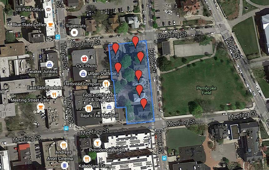 The seven homes Brown University plans to demolish, and a rough outline of the boundaries of the proposed parking lot. (Google Maps)
