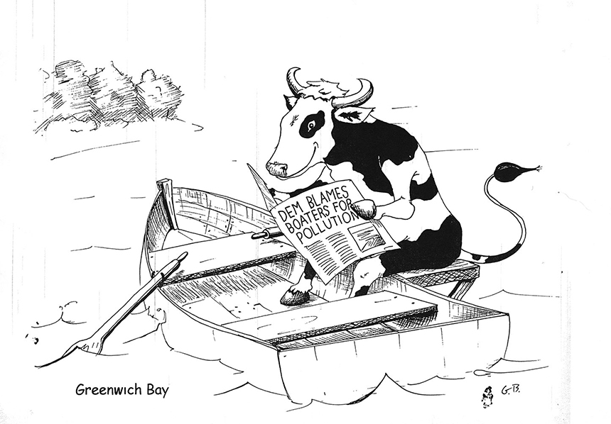 This cartoon was in the Kennedy Commission file at the Rhode Island State Archives. ecoRI News spent a few hours there last month going through the many folders of commission paperwork. After an extensive investigation in the mid-1990s into the contamination sources of Greenwich Bay, a Warwick farm was found largely responsible. (R.I. State Archives)