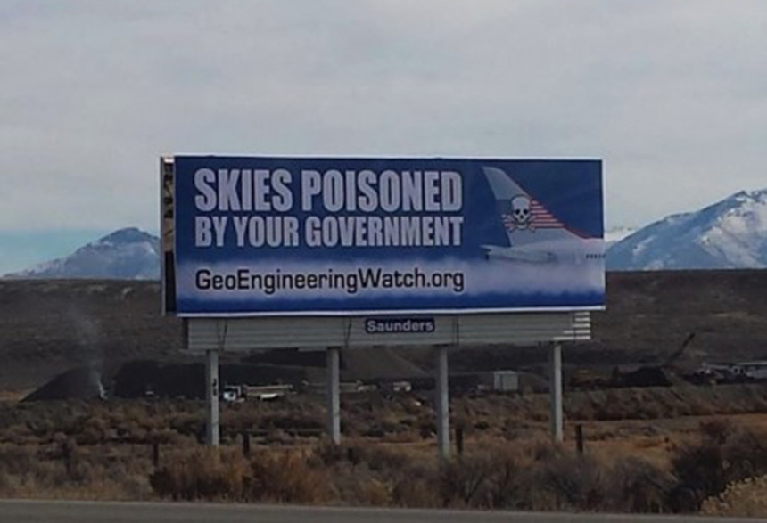 Geoengineering Watch paid for this billboard on I-80 near Elko, Nev., to help in its battle to expose and stop climate engineering. (geoengineeringwatch.org)