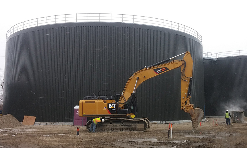 The Johnston, R.I., facility will feature two 2.5-million gallon digestion tanks, which will break down food scrap anaerobically. (Kevin Proft/ecoRI News photos)