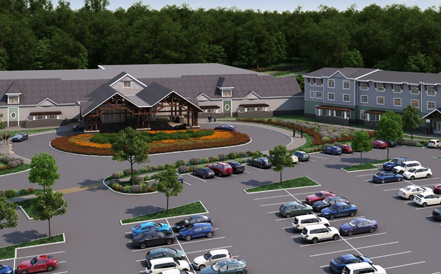 An artist's rendering of what the proposed Tiverton, R.I., casino would look like: a two-story, 85,000-square-foot facility with an attached 84-room hotel and 1,100 surface parking spaces. (TRMG)