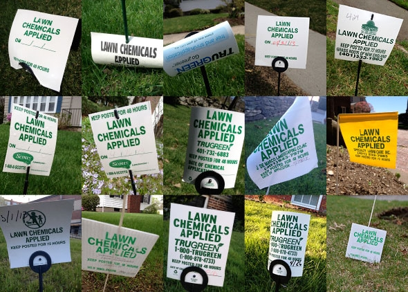 Lawn signs warning that toxic chemicals have been applied. (Joanna Detz/ecoRI News)