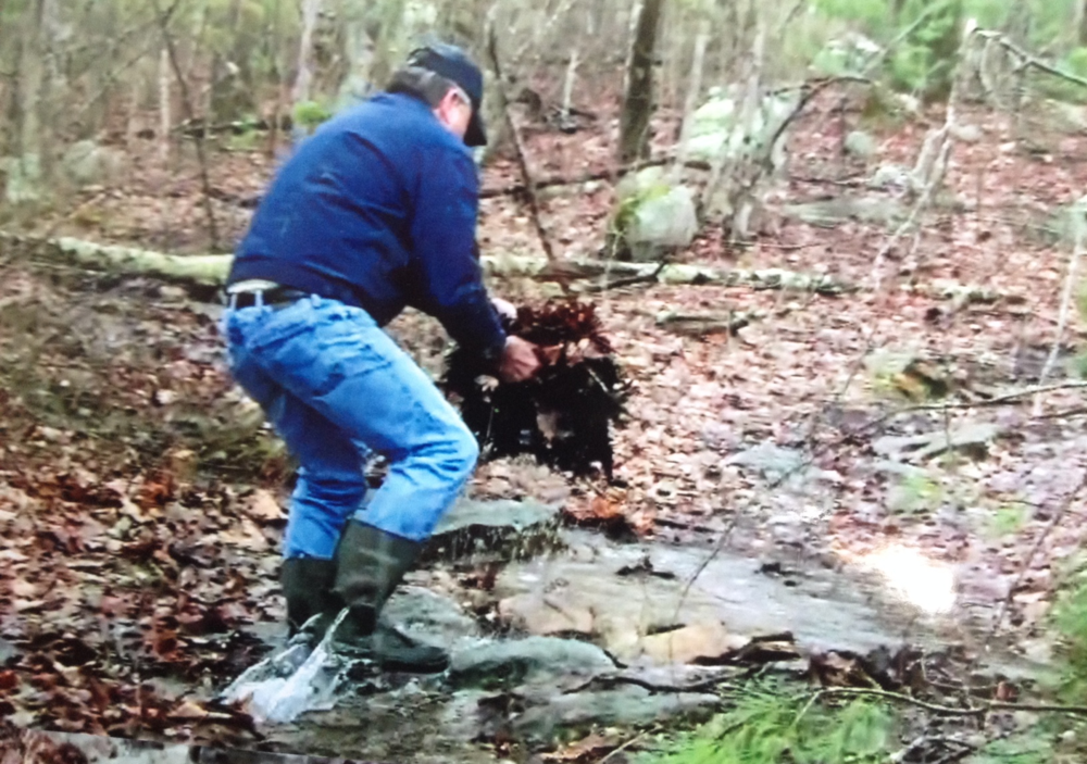 Connecticut resident Allan Rawson, managing member of Putnam-based River Junction Estates, was recently videotaped moving rocks and leaves along a watercourse in Rhode Island's Buck Hill Management Area. (Rob Mann photos)