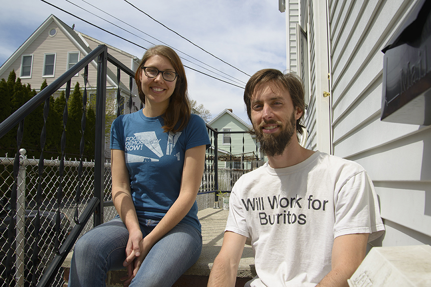 Providence residents Erin Umstead and Danny Kirschner have embraced the idea of living more sustainably and responsibly. (Joanna Detz/ecoRI News photos)