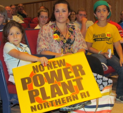 Burrillville, R.I., residents of all ages protested the proposed power plant during a May 23 hearing at the high school. (Tim Faulkner/ecoRI News)