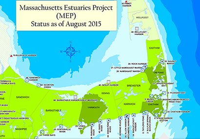 Steady population growth and increased development has created an overabundance of nitrogen in the harbors, bays and estuaries of Buzzards Bay. (DEP).