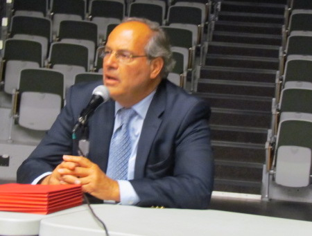 Herbert DeSimone Jr. was the only member of the three-person state Public Utilities Commission to attend the June 30 public hearing at CCRI. (Tim Faulkner/ecoRI News)