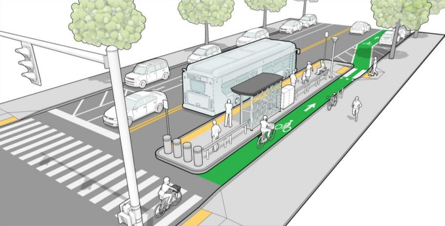 This 'floating bus island' design — one of 14 featured by RIPTA at recent meetings about its bus-stop design guide currently under development — incorporates a separated bike lane and ADA amenities. The guide notes that 'agreements for maintenance and snow removal on the island will need to be established.' (Toole Design Group, McMahon Transportations Engineers & Planners, RIPTA)