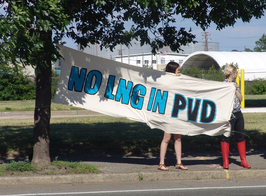 Late last month activists took to the streets to protest the liquefied natural gas facility proposed for the Providence waterfront. (Sophie Kasakove/ecoRI News)