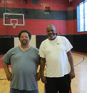 Brother Ray, right, with George Lindsey, director of the Davey Lopes Recreation Center. (Nicholas Boke/ecoRI News)