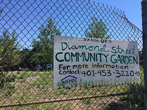 The Sankofa Diamond Street Community Garden in Providence's West End. (Sophie Kasakove/ecoRI News)