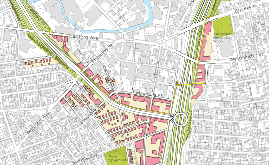 This enlargement from the draft plan highlights many of the city's priorities. New connections between neighborhoods are made over and under the highways, bike lanes (yellow lines) would connect the existing Washington Secondary Bike Path and Woonasquatucket River Greeway, and land is reclaimed for development. The halo interchange, which, among other connections, would allow drivers headed north on Route 10 to connect with Route 6 West. (City of Providence and Utile)