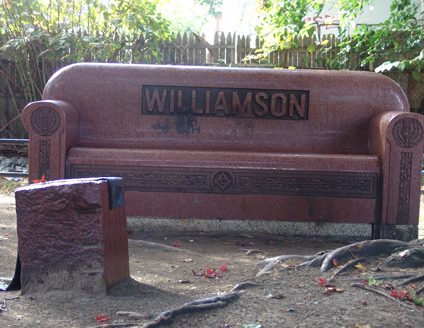This unique headstone is often used as a bed by the homeless.