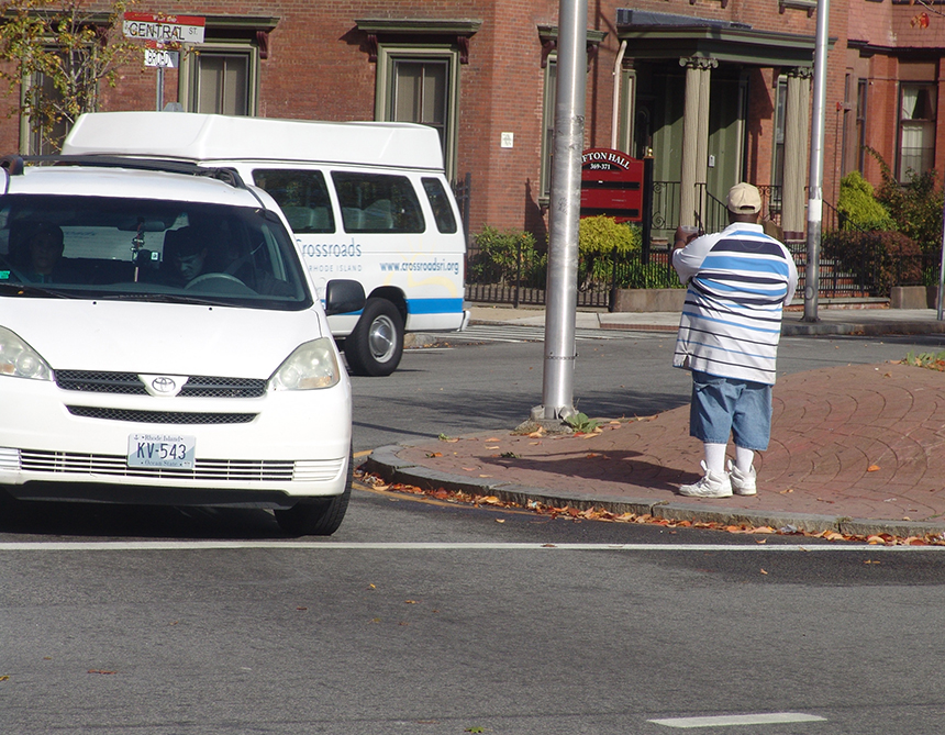Last year Rhode Island had the highest rate of its residents living in poverty in New England, forcing people such as this gentleman on Providence's South Side to ask strangers for money.