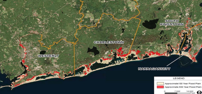 A total of 341 structures along the south coast of Rhode Island, including about 28 miles of moderately developed coast in the towns of Westerly, Charlestown, South Kingstown and Narragansett, have been identified by the Army Corps of Engineers for its fortification program. (ACE)