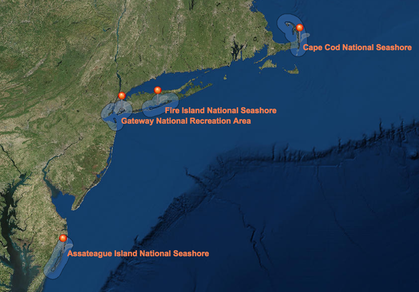 The mapping of underwater habitats took place in four national park sites affected by Hurricane Sandy. (URI)