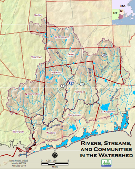 The Pawcatuck Basin Aquifer System, the sole source of drinking water for many residents of southern Rhode Island and eastern Connecticut, is within the Wood-Pawcatuck watershed. (WPWA)