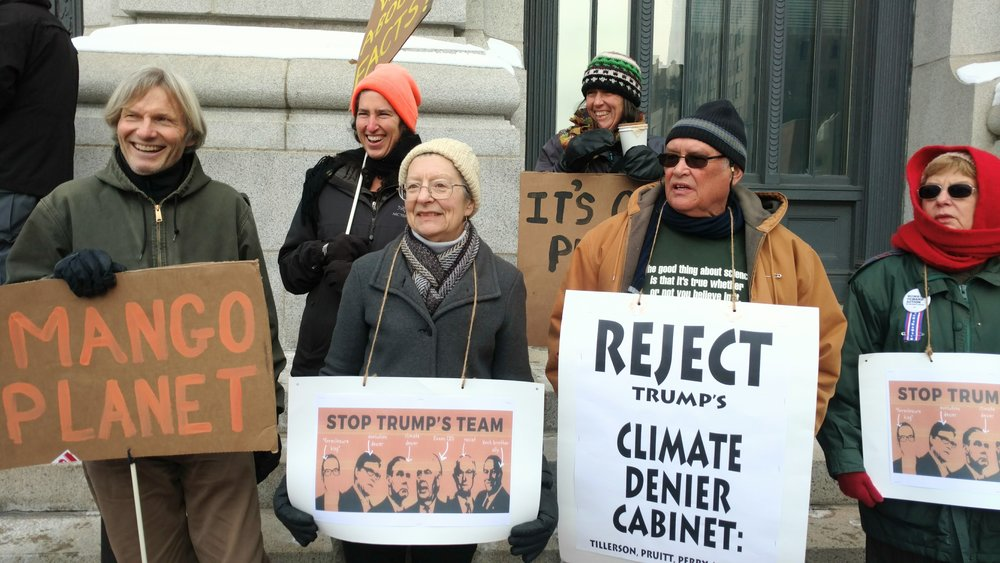Environmental activists staged a march and rally in downtown Providence on Jan. 9. (Tim Faulkner/ecoRI News)