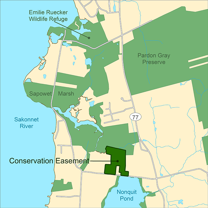 The Peckham property in Tiverton, R.I., adds to an existing 310-acre protected area that includes the state-owned Sapowet Marsh Wildlife Management Area. (TNC)