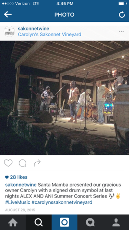 A 2015 vineyard concert. (Instagram/Carolyn's Sakonnet Vineyard)