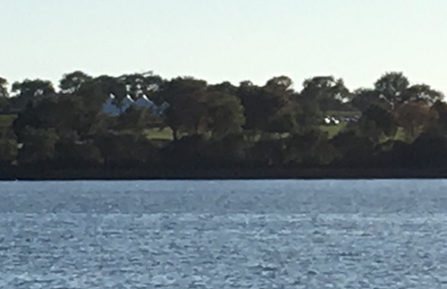 The Eliasons live across Watson Reservoir from Carolyn's Sakonnet Vineyard. They say summer music from the vineyard often ruins the peacefulness of their backyard. (Courtesy photo)