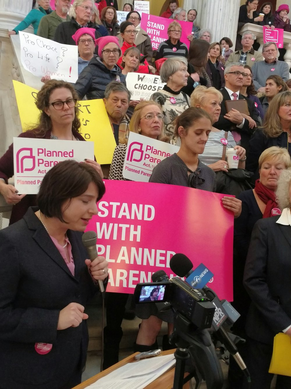 Sen. Gayle Goldin speaks during a rally for a bill to approve abortions in Rhode Island. (Tim Faulkner/ecoRI News)