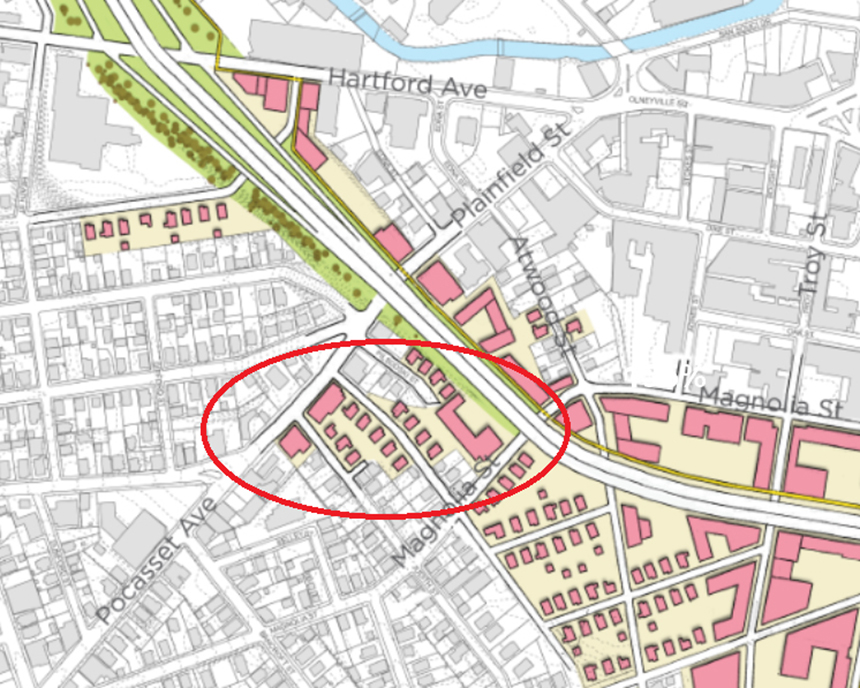 By removing the Plainfield Street on-ramp, land would be made available for redevelopment and the area's street grid could be restored (circled). The city of Providence argues the ramp is redundant as there is already highway access at Hartford Avenue (top left). Local residents say removing the ramp would increase congestion on Hartford Avenue and hurt businesses on Plainfield Street. (Providence Department of Planning and Development)