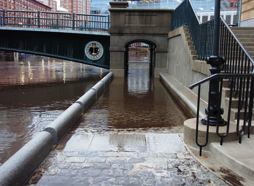 On Dec. 12, 2008, Waterplace Park in Providence got a wet look at what just 3 feet of sea-level rise will do, as 2.7 feet of flooding washed out much of the area's riverside walkways. (James Boyd/CRMC)
