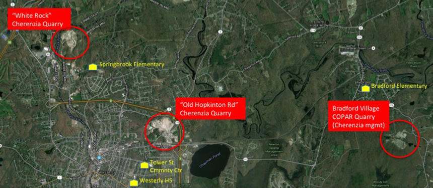 A quarry in the village of Bradford, right, is about a mile from an elementary school. The Old Hopkinton Road quarry, middle, is less than 3 miles from Westerly High School and a community center. A quarry on White Rock Road is about a mile from another elementary school. (Graphic by Charles Marsh)