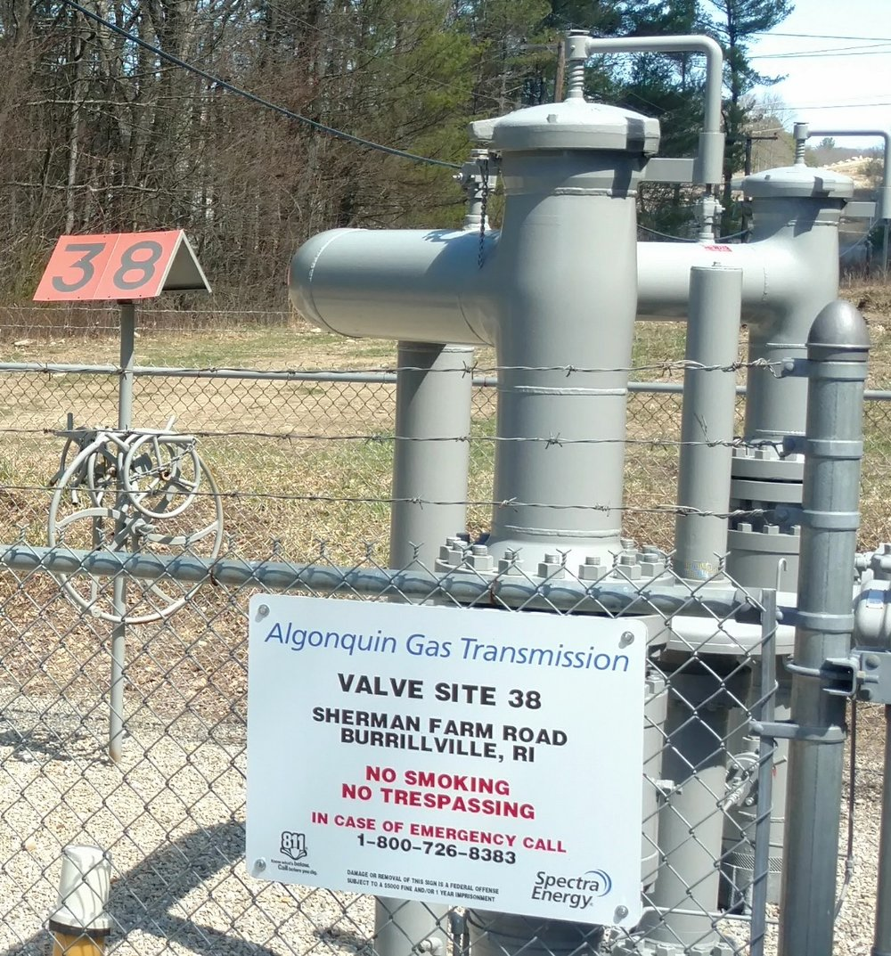 Valve site 38 in Burrillville, R.I., is leaking natural gas, but the response to fix it has been slow. (Tim Faulkner/ecoRI News)