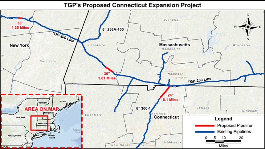 A 3.8-mile stretch of natural-gas pipeline proposed in Berkshire County, Mass., goes through a state forest and private property. (Kinder Morgan Energy Partners LP)