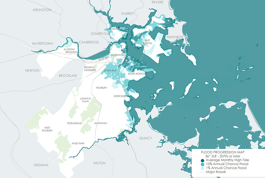 This map details the areas of Boston that would be impacted by 3 feet of sea-level rise. Three communities, East Boston, South Boston and Charlestown, are at the biggest risk from climate-related flooding.