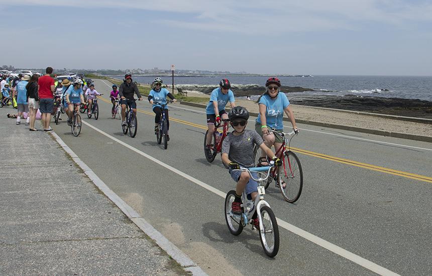 Bike Newport's Bari Freeman, right, says helping to improve Aquidneck Island's bike infrastructure is a top priority of the organization. (Francis Bogan/ecoRI News)