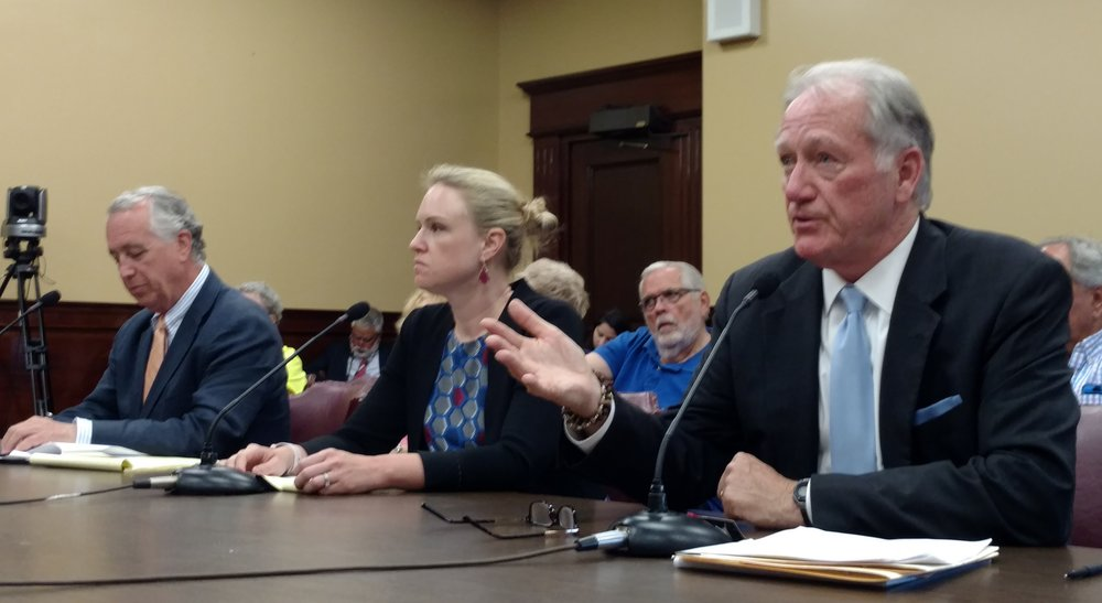 Chris Boyle of Invenergy, left, Elizabeth Suever, center, of the Greater Providence Chamber of Commerce, and John Simmons of the Rhode Island Public Expenditures Council oppose bills that change how power plants are approved in Rhode Island. (Tim Faulkner/ecoRI News)