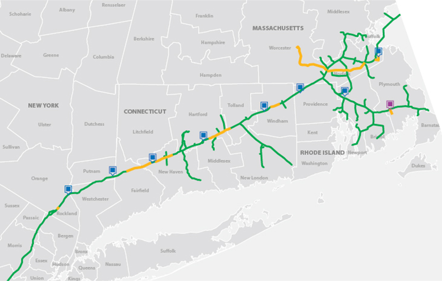 The project was a shared effort by Spectra Energy, National Grid and Eversource, and cut through large swaths of southern New England. (Access Northeast)