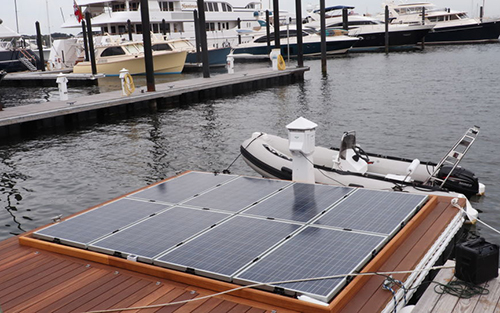The solar panels provide free electrical power for boaters. (Blue Isles)
