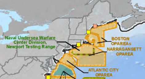 The Navy has designated southern New England as the Boston Operating Area, Narragansett Operating Area and Newport Testing Range.