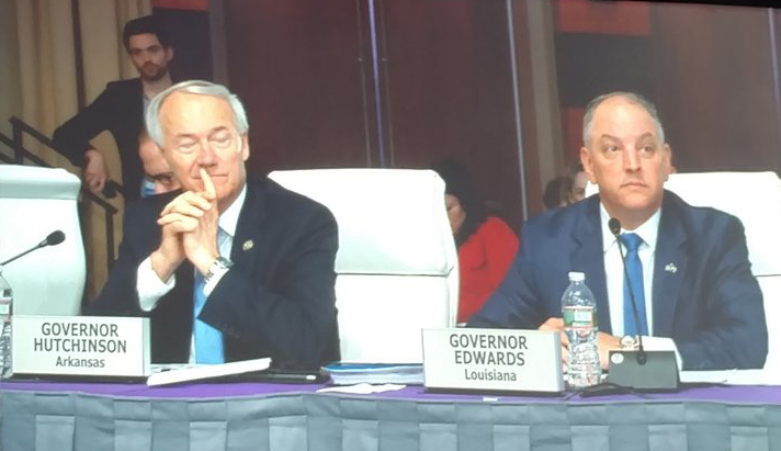 Gov. Asa Hutchinson of Arkansas and Gov. John Bel Edwards of Louisiana didn't say climate change, but they do want to make their states more resilient to extreme weather and flooding.