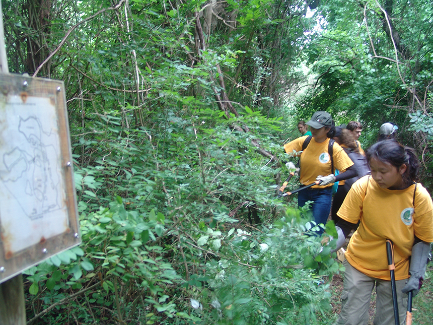 The Rhode Island high-school students clear brush, maintain trails and cut back invasives.