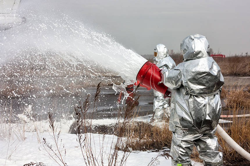 Perfluorinated compounds have been used for firefighting, in aqueous film-forming foams — the use of which have contaminated hundreds of U.S. aquifers, according to a URI scientist. (istock)