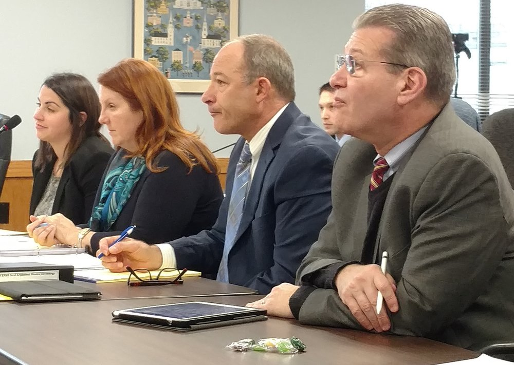 Invenergy's legal team, including its chief legal officer Michael Blazer, right, could have its project suspended by Rhode Island's siting board. (Tim Faulkner/ecoRI News)