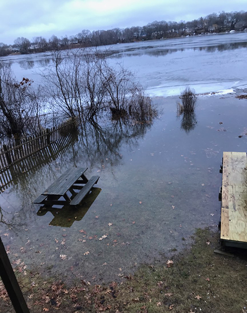 Residents say the flooding of the neighborhood around Warwick Pond continues to worsen, as this Jan. 12 photo shows. (Philip D'Ercole Sr.)