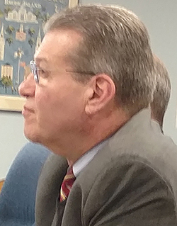 Invenergy's top attorney, Michael Blazer, has accused the town of Burrillville of spreading false information about the proposed power plant. (Tim Faulkner/ecoRI News)