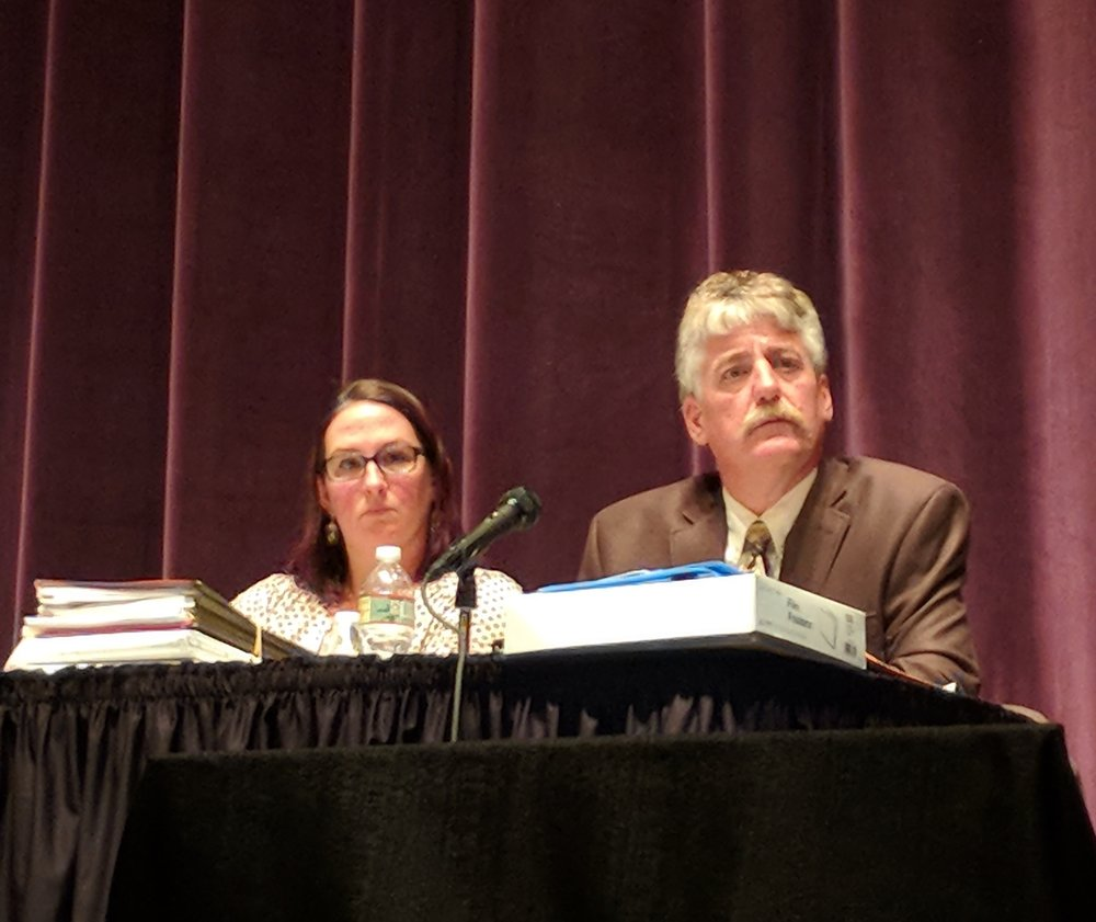 Susan Forcier, deputy legal council, and Eric Beck, chief of groundwater, freshwater and wetland protection, for the Rhode Island Water Resources Board were asked to consider racial and environmental justice in their decision to issue a permit for the LNG project proposed for the Providence waterfront. (Tim Faulkner/ecoRI News photos)